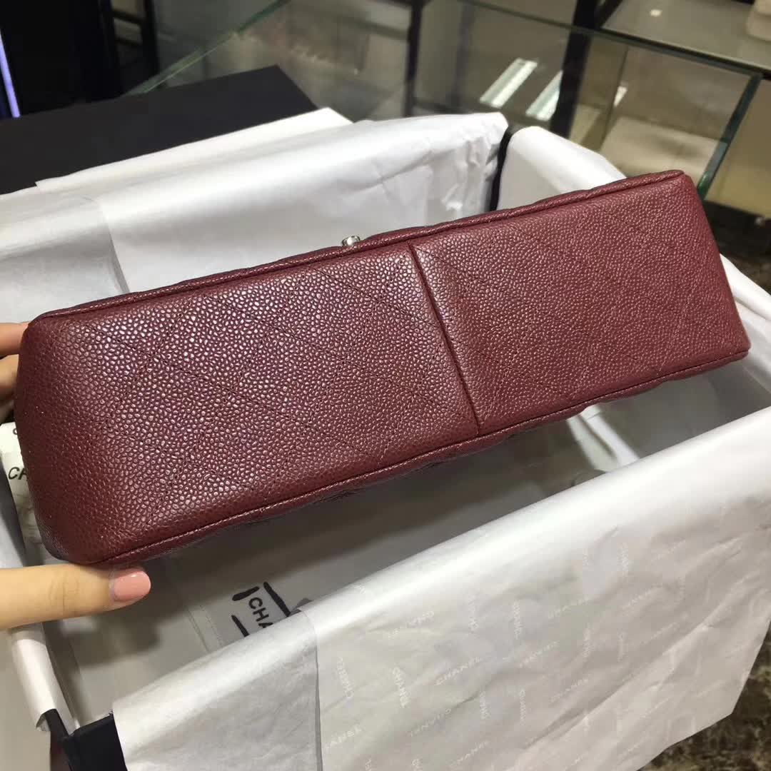 Chanel 香奈儿 Classic Flap 鱼子酱 枣红色 30cm 银
