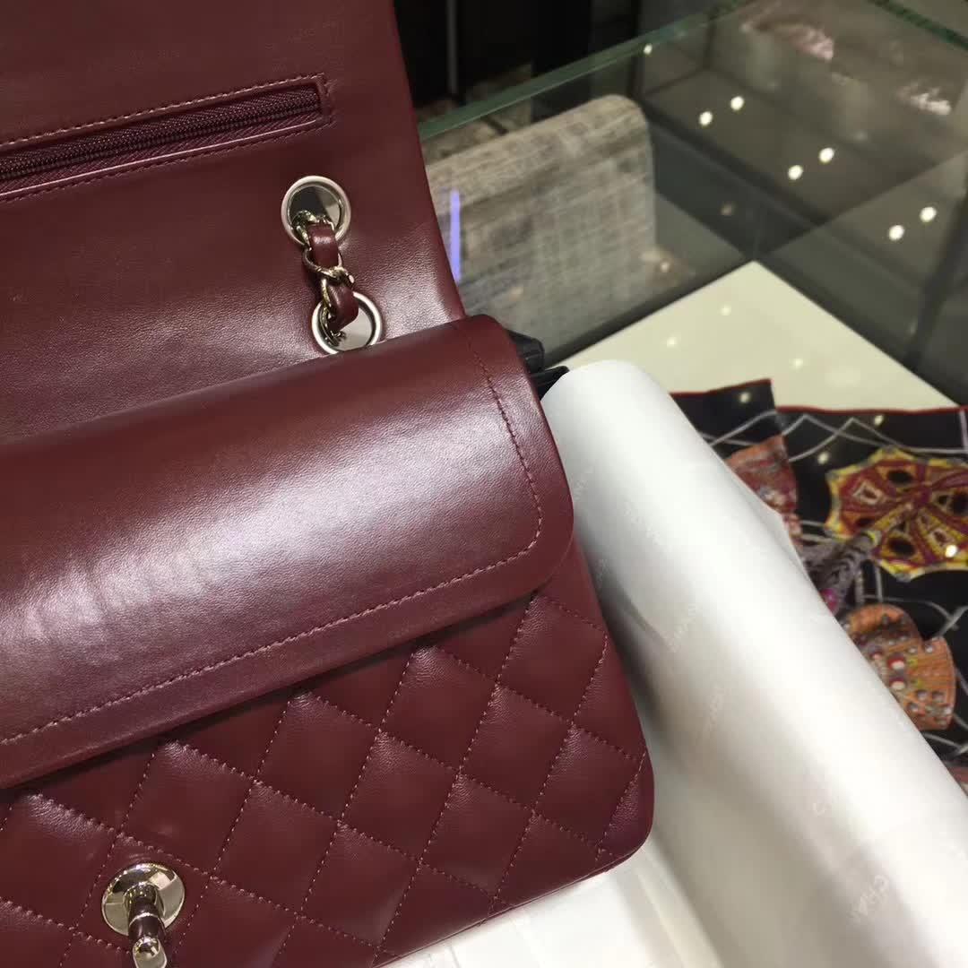 香奈儿女包批发 Classic Flap 小羊皮 枣红色 25cm银五金