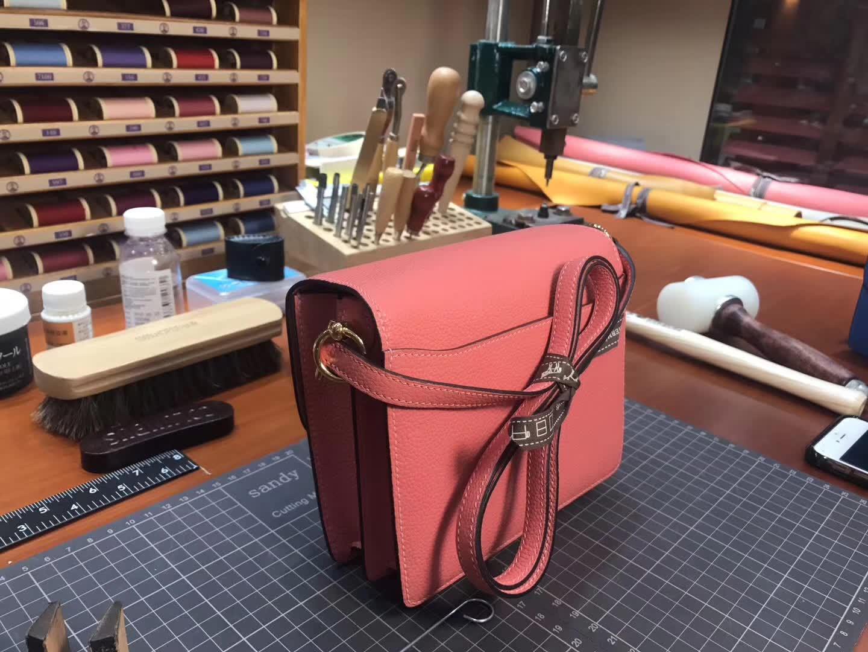 Hermes Roulis mini 19 3L 玫瑰茶粉 rose tea 爱马仕官网同步 专柜断货颜色