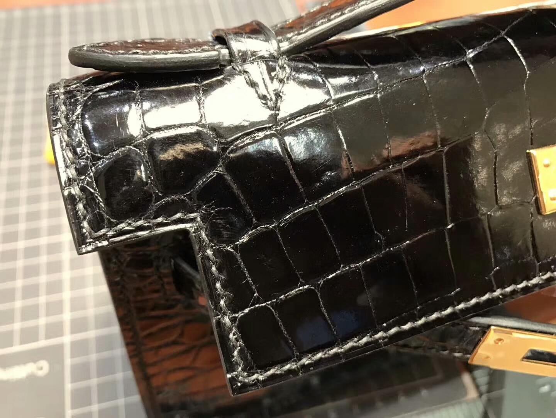 尚美高订 MiniKelly22CM鳄鱼皮手工定制 经典黑色