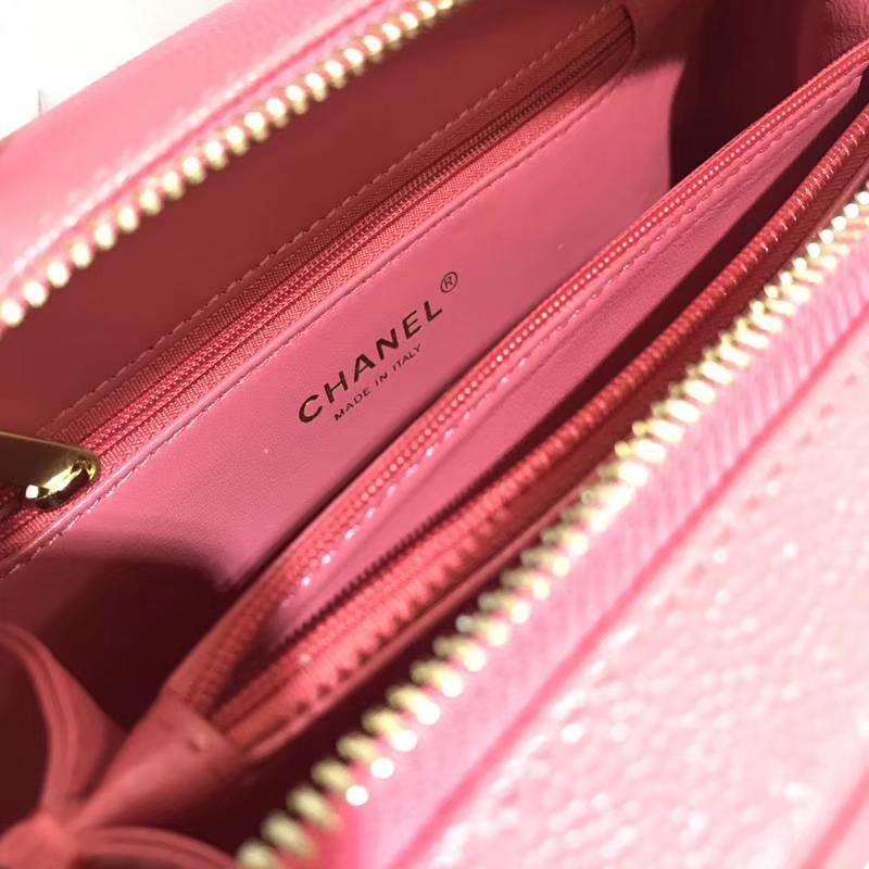 Chanel 香奈儿 化妆包21cm进口小鱼子酱 西瓜红 现货