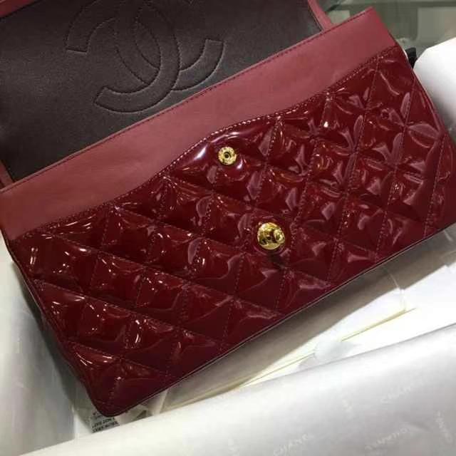 Chanel 香奈儿 Classic Flap Bag  进口漆皮 30cm 酒红色 金扣