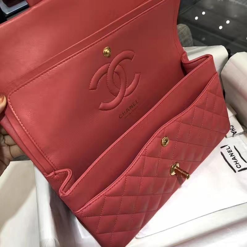Chanel 香奈儿 ClassicFlapBag25cm 小羊皮 西瓜红 金扣 纯正品开发 顶级的工艺 进出专柜无压力