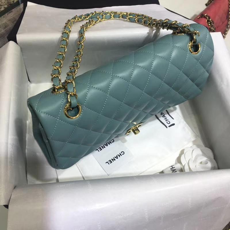 Chanel 香奈儿Classic Flap Bag 进口小羊皮 25cm 现货 薄荷绿 金扣