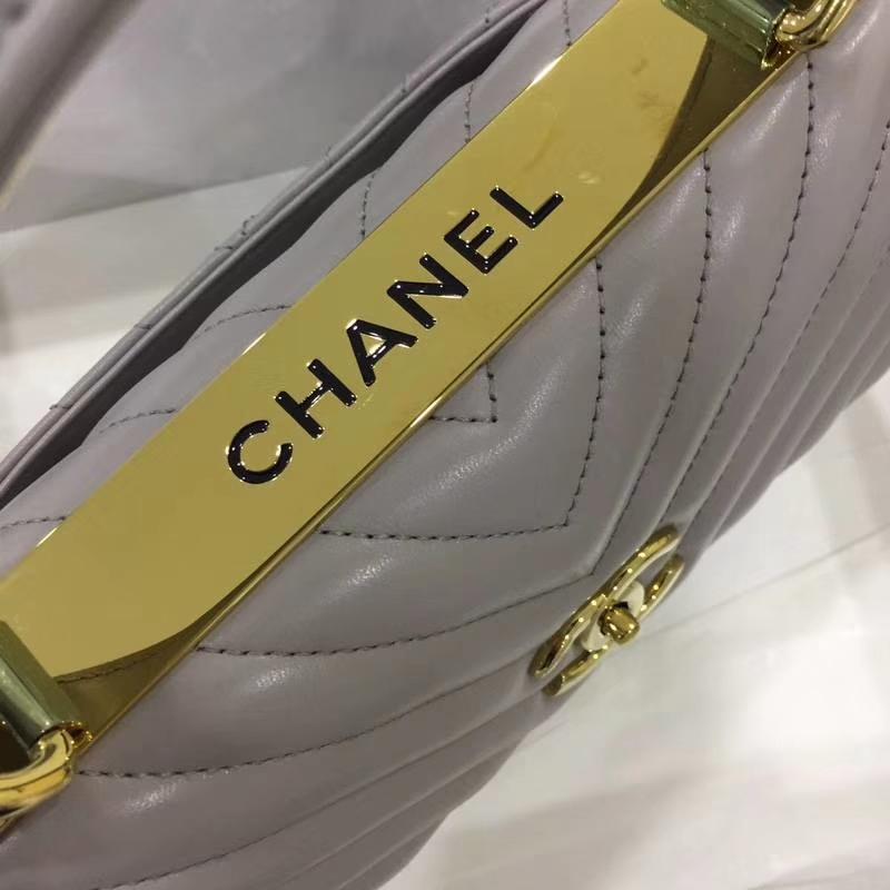 Chanel 香奈儿 TrendyCC大V  小羊皮 大象灰 25cm 金扣 现货