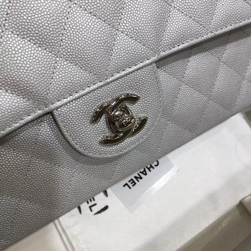 Chanel 香奈儿 CF 经典系列 鱼子酱 银色(车边) 25cm 银扣