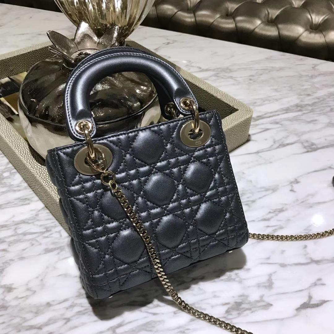 Dior 迪奥 戴妃包 Lady Dior 三格小羊皮戴妃 珠光皮 黑色