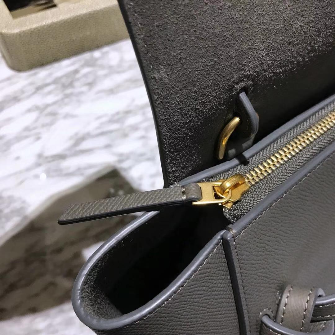 Celine 鲶鱼包mini 20cm 美美的熔岩灰 自留款 掌纹皮