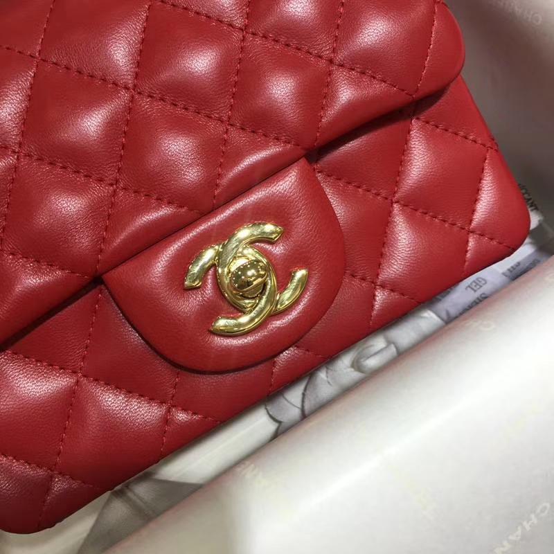 Chanel 香奈儿 CF 经典系列 小羊皮 大红 17cm 金扣  现货