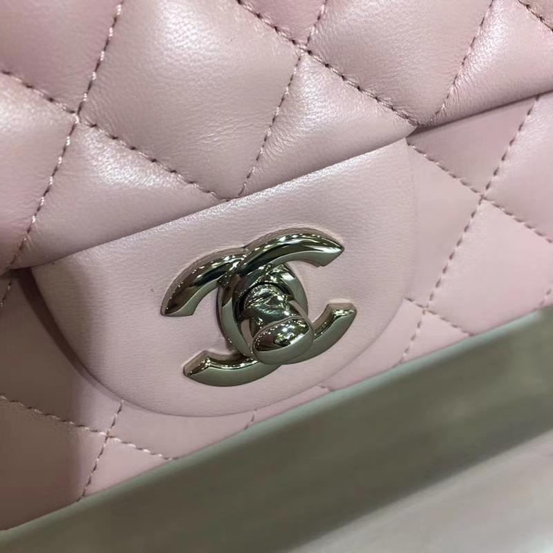 Chanel 香奈儿 CF 经典系列 小羊皮 浅粉 17cm 银扣 现货