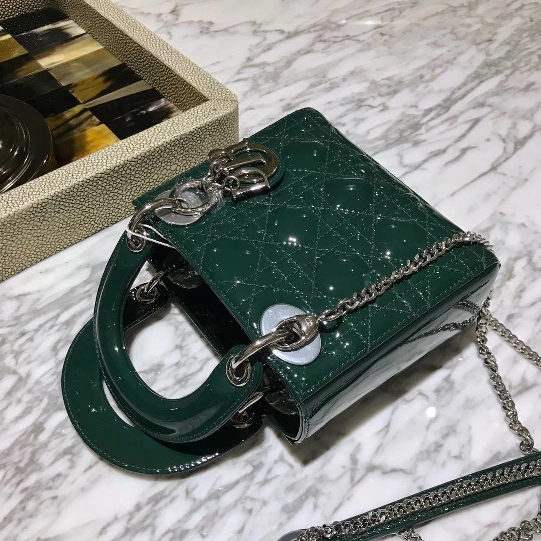 Dior 迪奥 广州厂家直销 包包批发市场 意大利 进口原厂正品皮料墨绿色