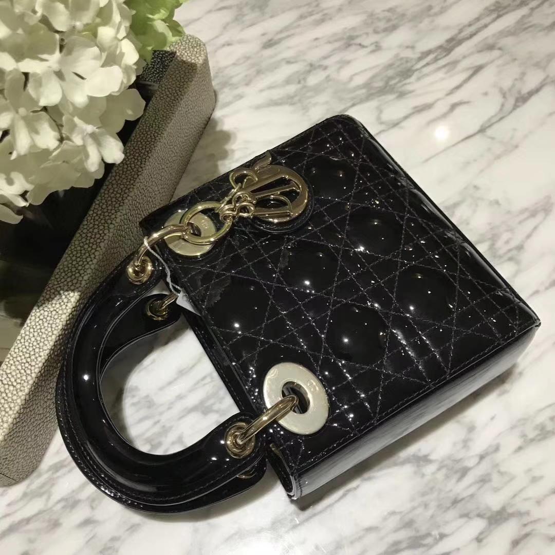 Dior 迪奥 mini 漆皮 戴妃包 Lady Dior 完美 ZP打版 黑色