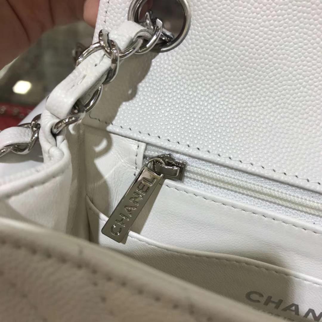 Chanel 香奈儿 V字绣小鱼子酱 白色 银色 17cm 现货