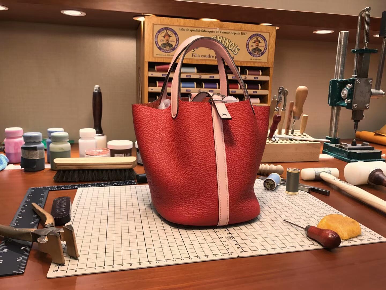 爱马仕 HERMES 菜篮子 Picotin 配全套专柜原版包装 全球发售 s5番茄红rougetomate 拼 3Q rose sakura PHW 水粉色