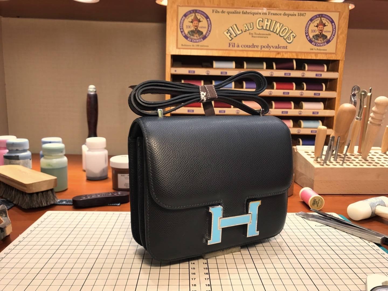 HERMES 爱马仕 空姐包 Constance  BLACK 黑色 蓝色珐琅扣 配全套专柜原版包装