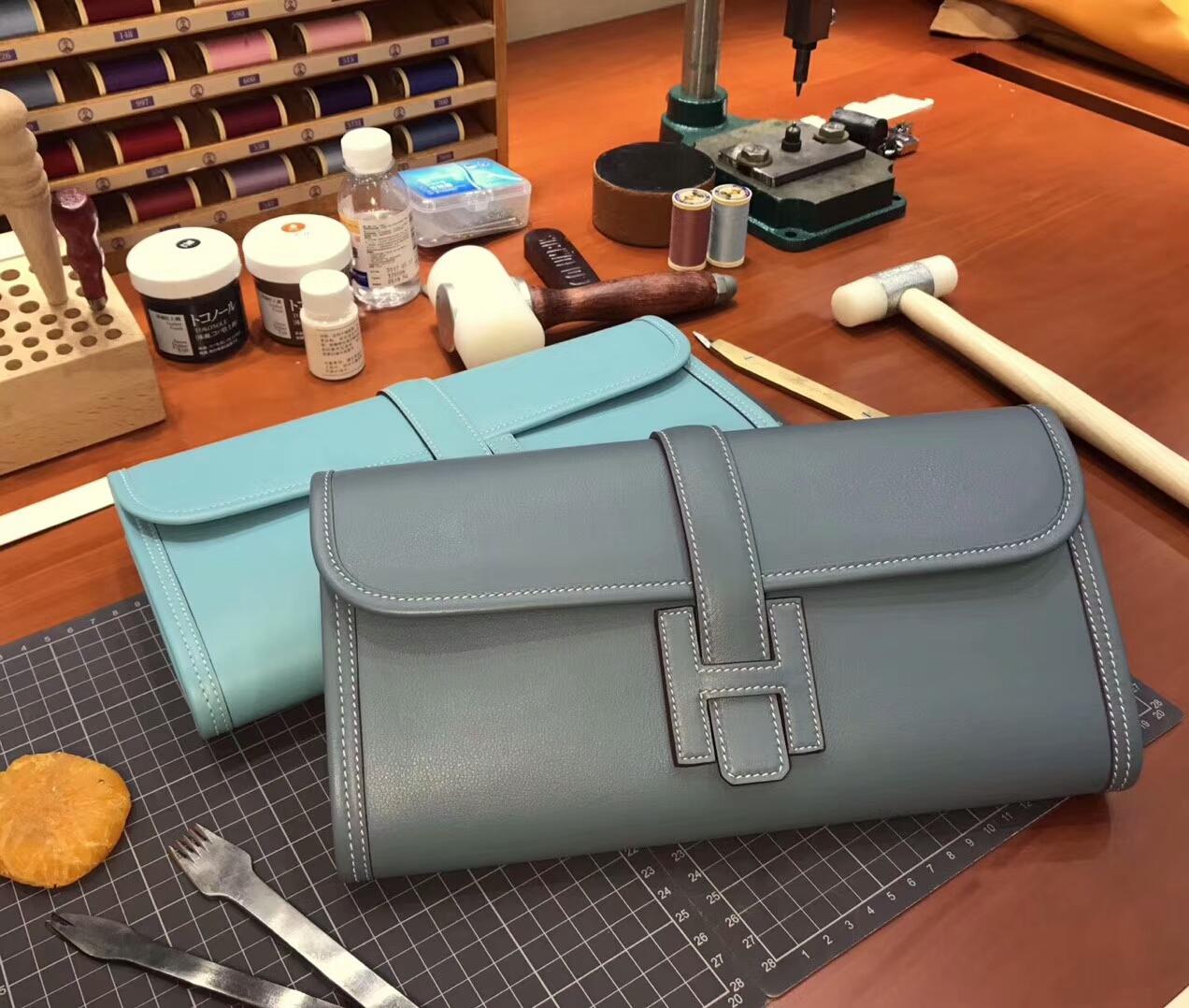 J7 亚麻蓝 Blue Lin HERMES 爱马仕 手包 配全套专柜原版包装