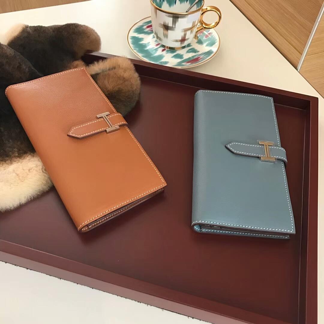 Bearn长款H扣钱包 J7 亚麻蓝 Blue Lin 金棕色 配全套专柜原版包装