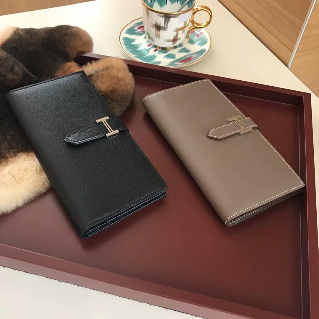 Bearn长款H扣钱包 黑色 大象灰 Etoupe CK18 配全套专柜原版包装
