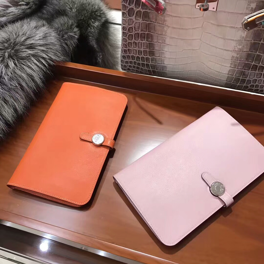 HERMES 手包 钱包 Wallet Swift CK93 经典橙色 Orange/rosesakura水粉色3q