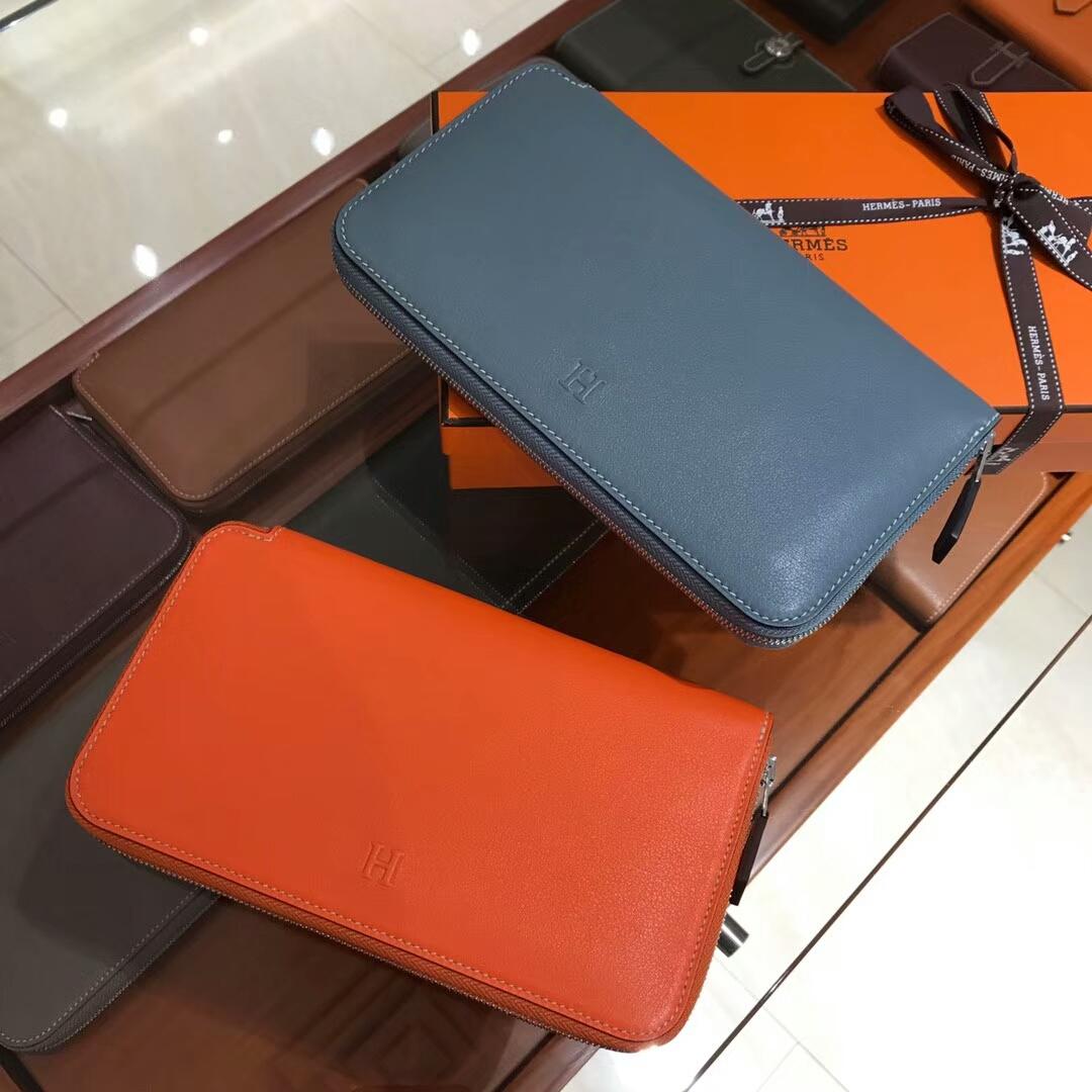 HERMES 长款拉链钱包 CC93 Orange 橙色 橘色/n7 风暴蓝bluetempete 灰蓝色