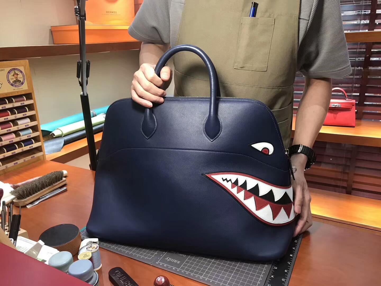 HERMES 爱马仕 鲨鱼保龄球包 配全套专柜原版包装 媲美专柜货源 CC73 宝石蓝 Blue Saphir