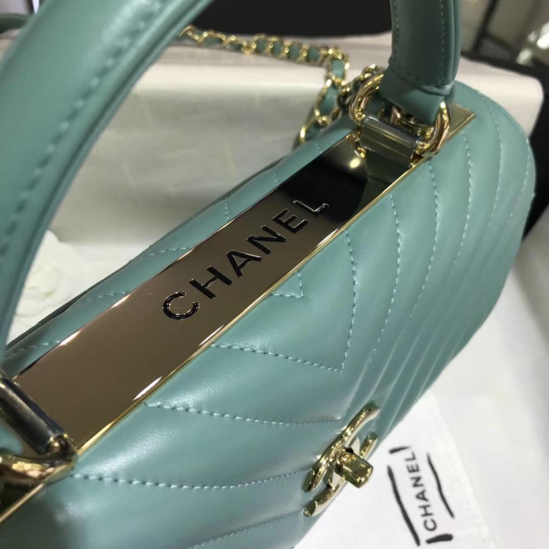 Chanel 香奈儿 TrendyCC大V 小羊皮 薄荷绿 25cm 香槟金 现货