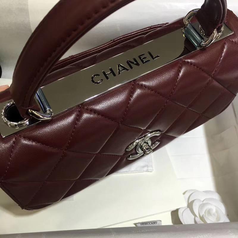 Chanel 香奈儿 TrendyCC 小羊皮 酒红色 25cm 银扣 现货