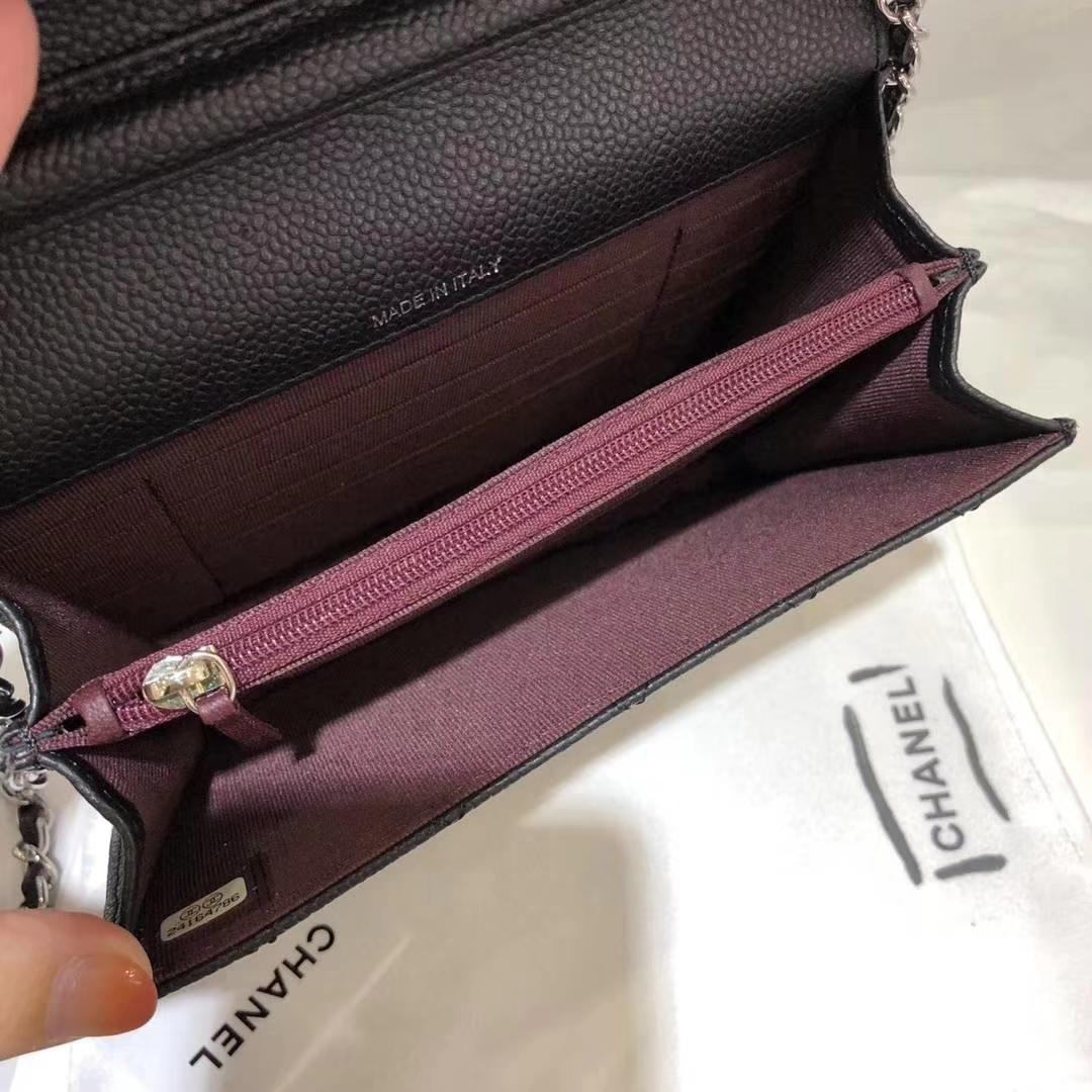 Chanel 香奈儿 WOC Mini 进口鱼子酱 黑色银扣 少量现货