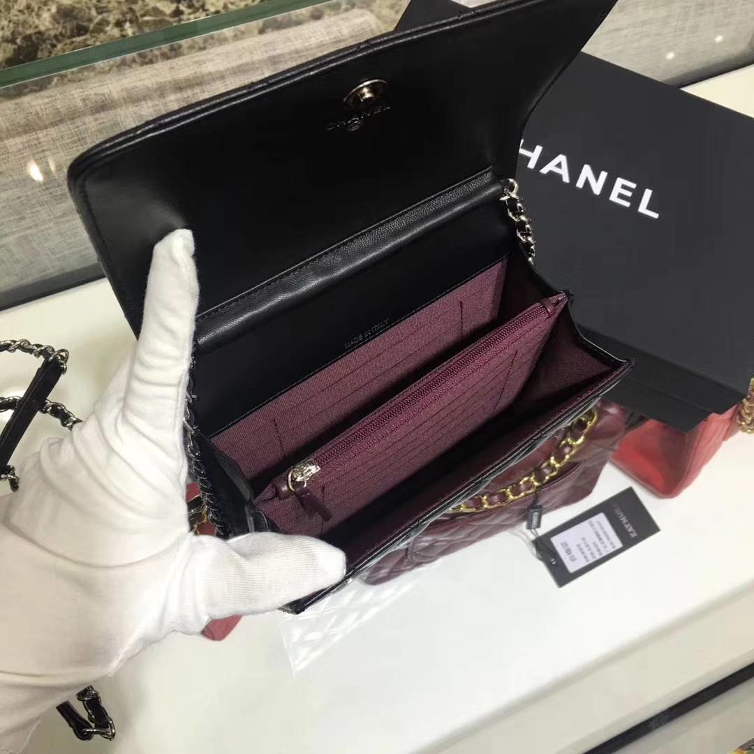 Chanel 香奈儿 WOC mini  进口小羊皮 黑色银扣 有少量现货