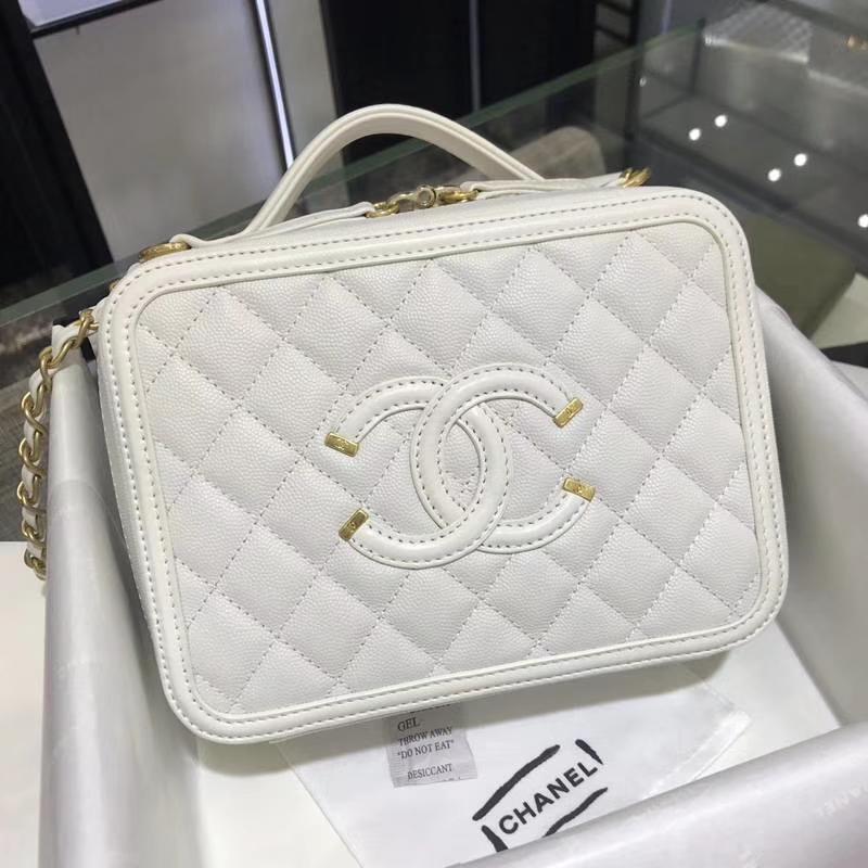 Chanel 香奈儿 化妆包 21cm 进口小鱼子酱 白色 现货