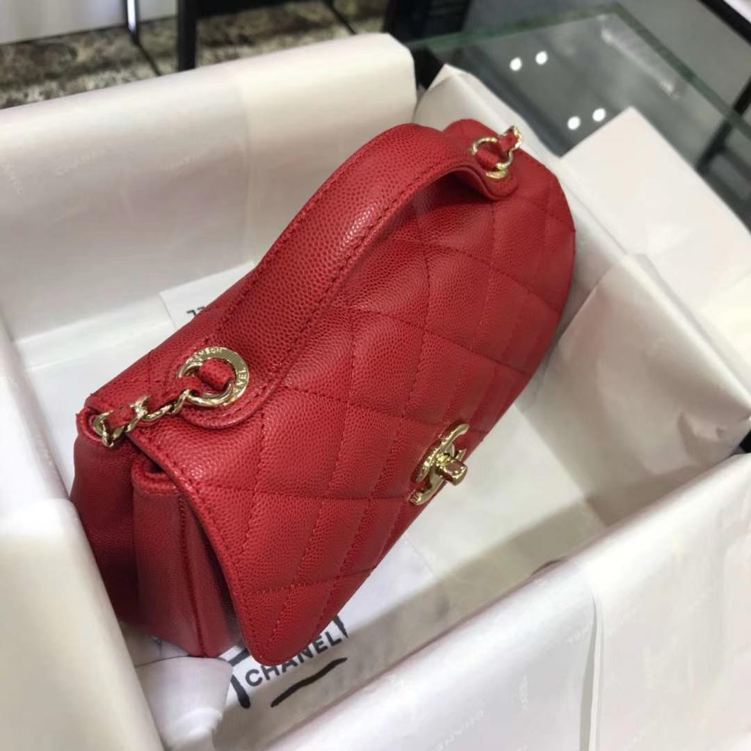 Chanel 香奈儿 邮差包 20cm 原厂皮小鱼子酱 大红色
