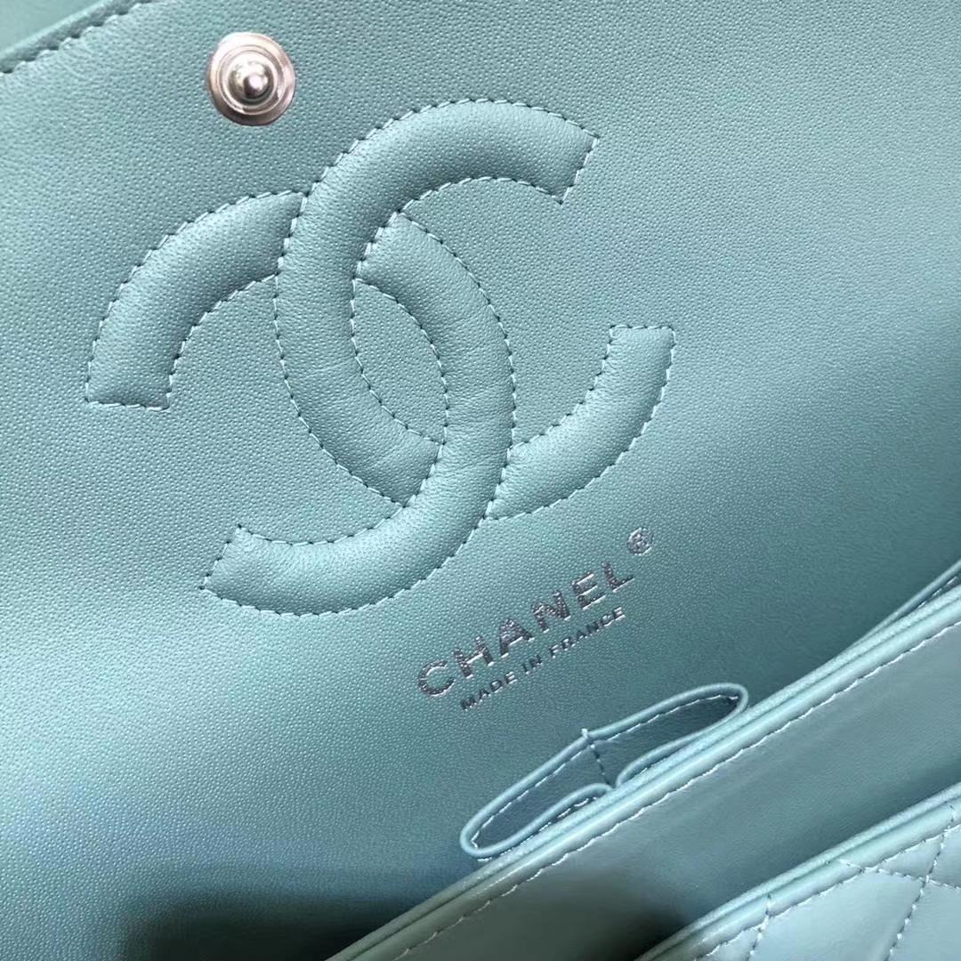 Chanel 香奈儿 CF 经典系列 羊皮 薄荷绿 25cm 银扣
