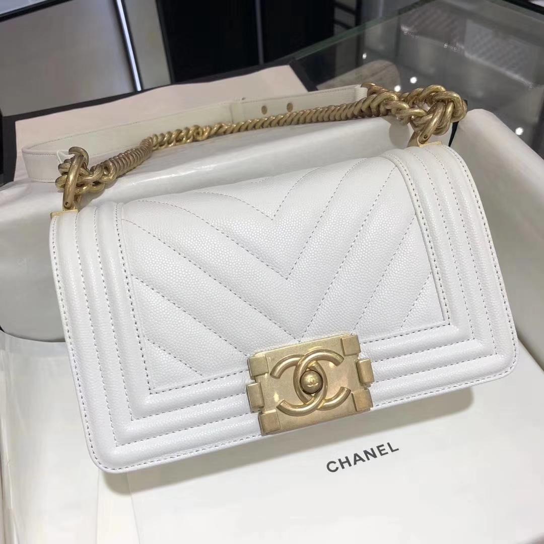 Chanel 香奈儿 leboy  进口小鱼子酱 V格款 白色 沙金 20cm