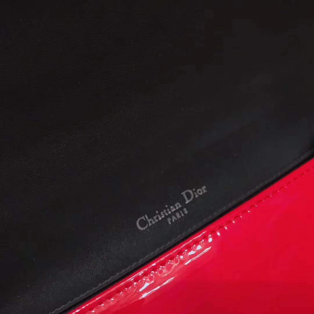 Dior 迪奥 腾格纹 牛皮压花 大红色 25cm