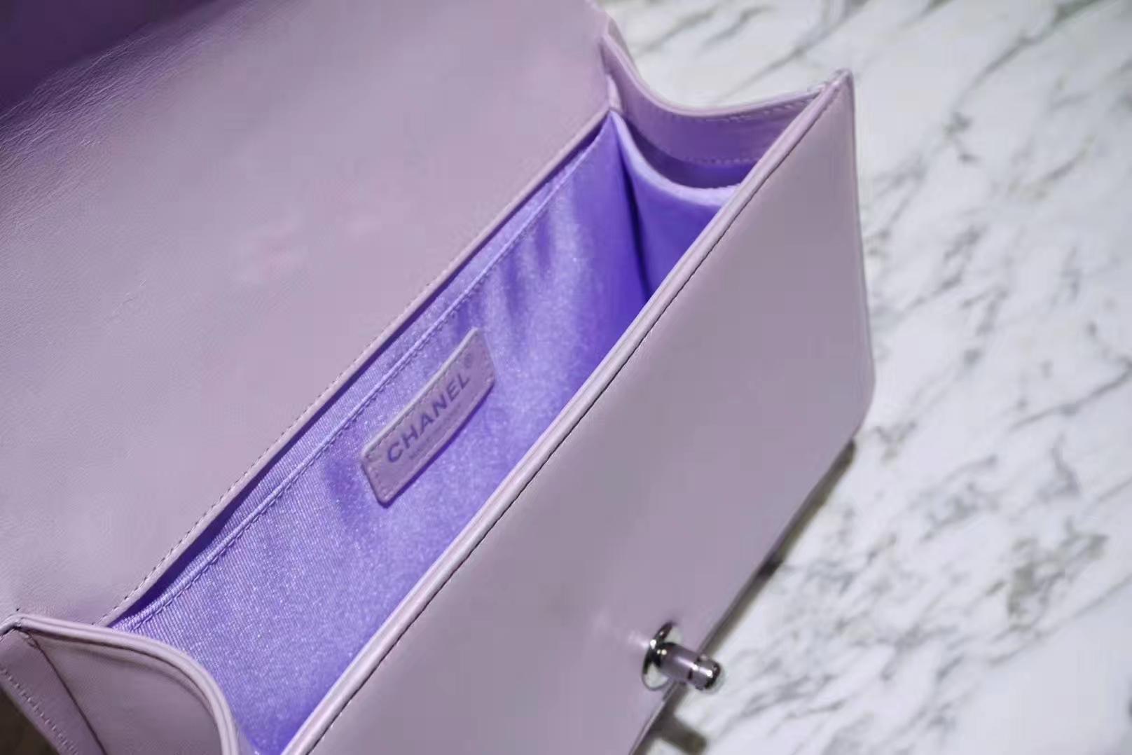 Chanel 香奈儿 Leboy系列 25cm 原厂小羊皮 珠光粉色 大理石纹琉璃五金
