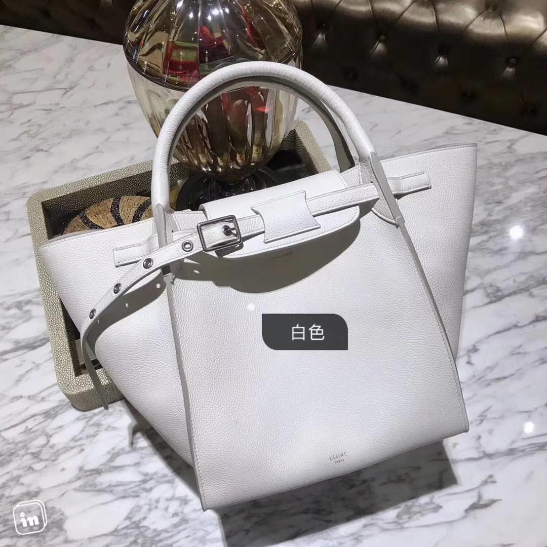 CÉLINE 购物袋 专柜同步发售 中号24cm 白色 进口荔枝纹牛皮