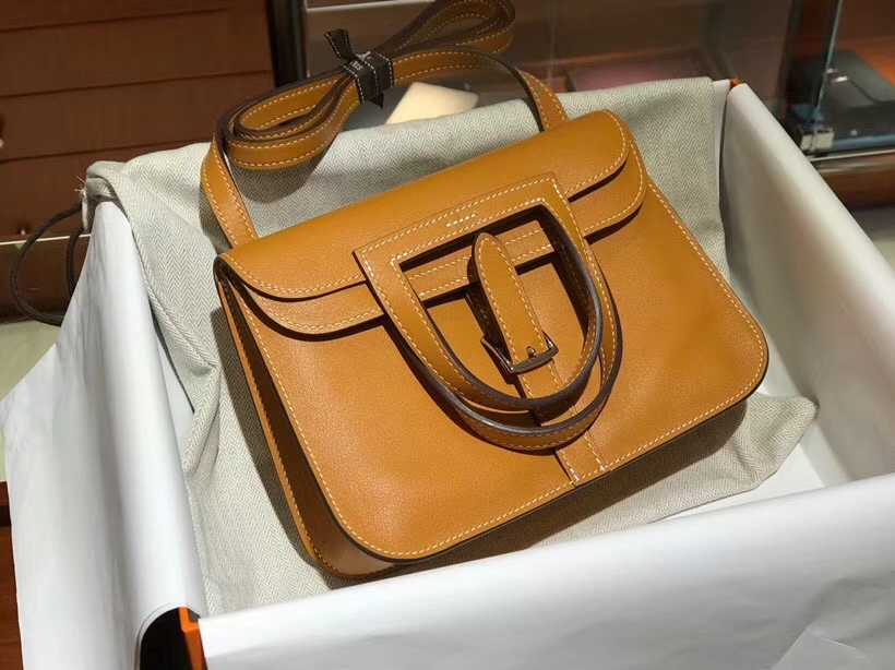 Hermes 爱马仕 Halzan swift 金棕色 银扣 配全套专柜原版包装
