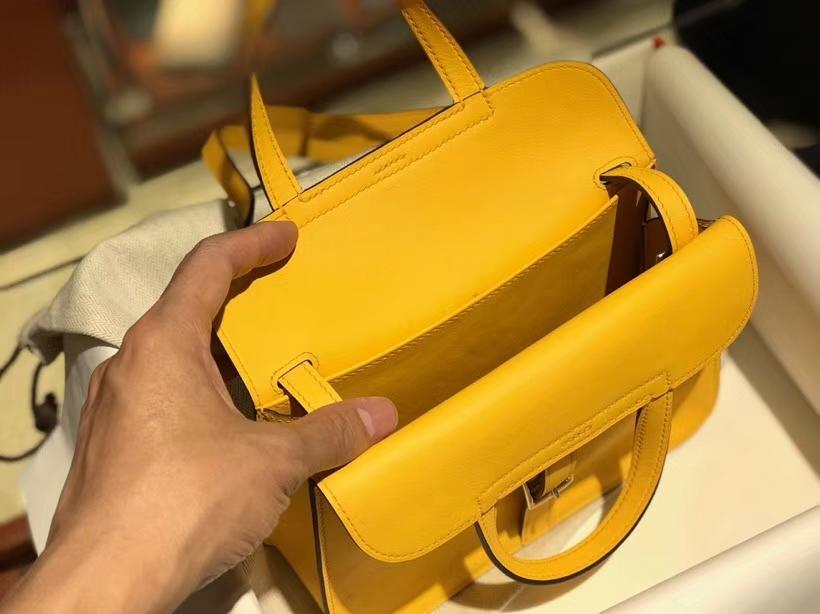 Hermes 爱马仕 Halzan swift 琥珀黄 银扣 配全套专柜原版包装