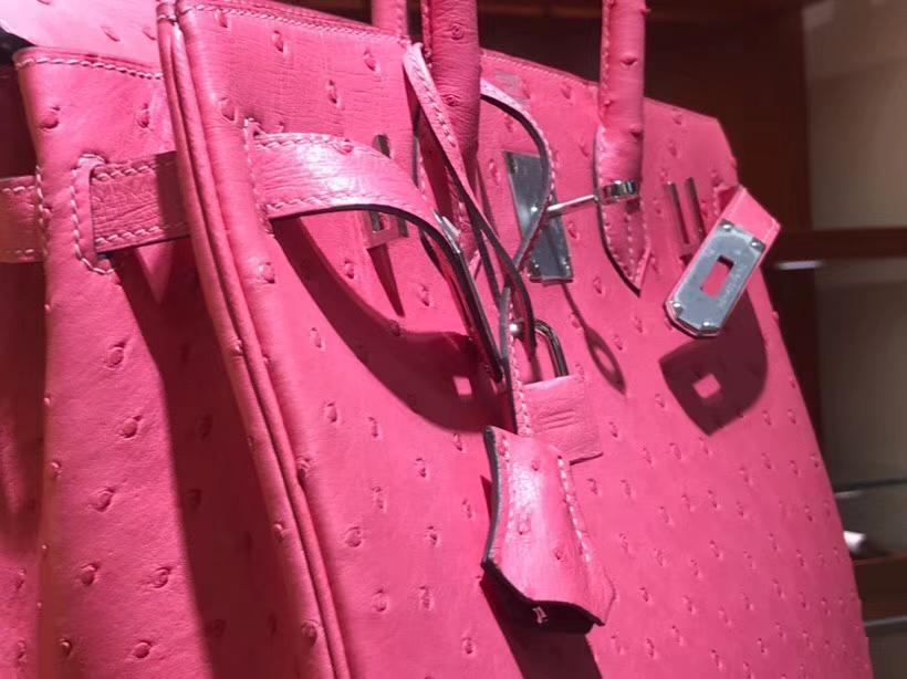 铂金包 Birkin 30cm 鸵鸟皮 唇膏粉 U5 Rose elipstick 金银扣都可以定制 配全套专柜原版包装