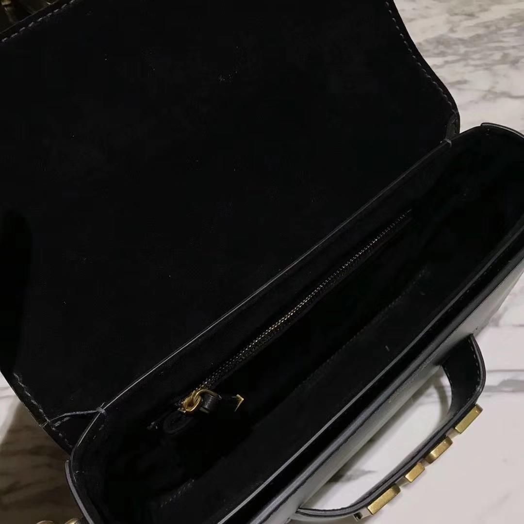 DIOR迪奥 翻盖牛皮包 25cm 黑色 金扣