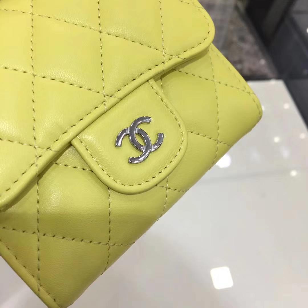 Chanel香奈儿 钱包 小羊皮 柠檬黄 银扣 短夹