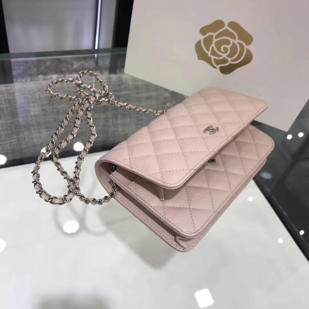 Chanel香奈儿 WOC 球纹 粉色 牛皮 银色五金