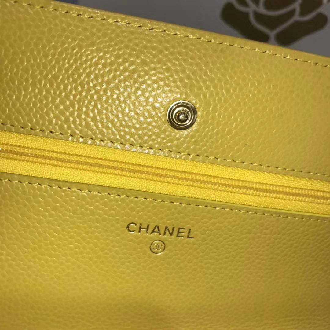Chanel香奈儿 WOC 球纹 芒果黄牛皮 银色五金