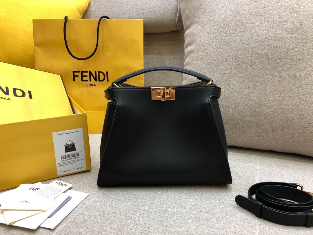FENDI芬迪小猫包 Peekaboo Essentially系列 黑色8803 27×20 x12cm