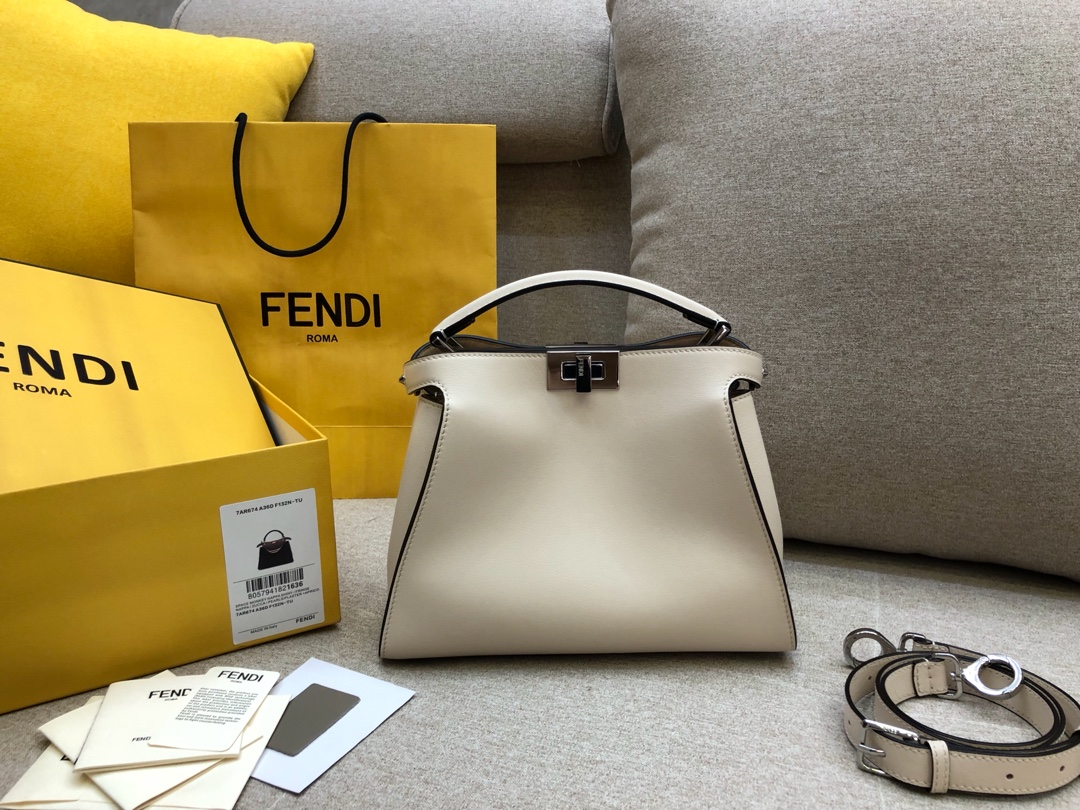 FENDI芬迪小猫包 Peekaboo Essentially系列 白色8803 27×20 x12cm