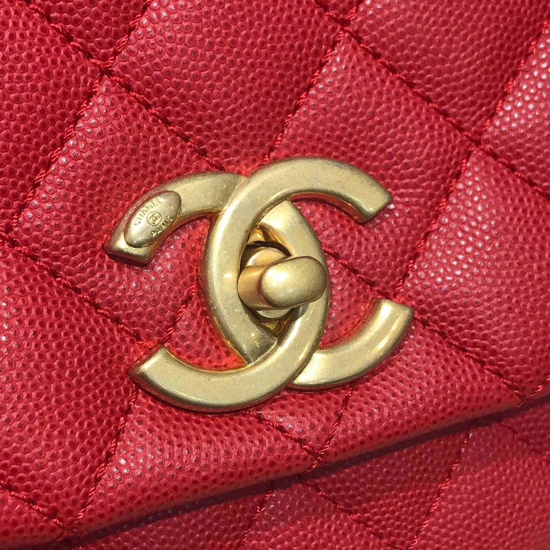Coco Handle 顶级代购版本 28cm 原厂皮小鱼籽酱 大红色 小球手柄 特殊渠道原厂皮