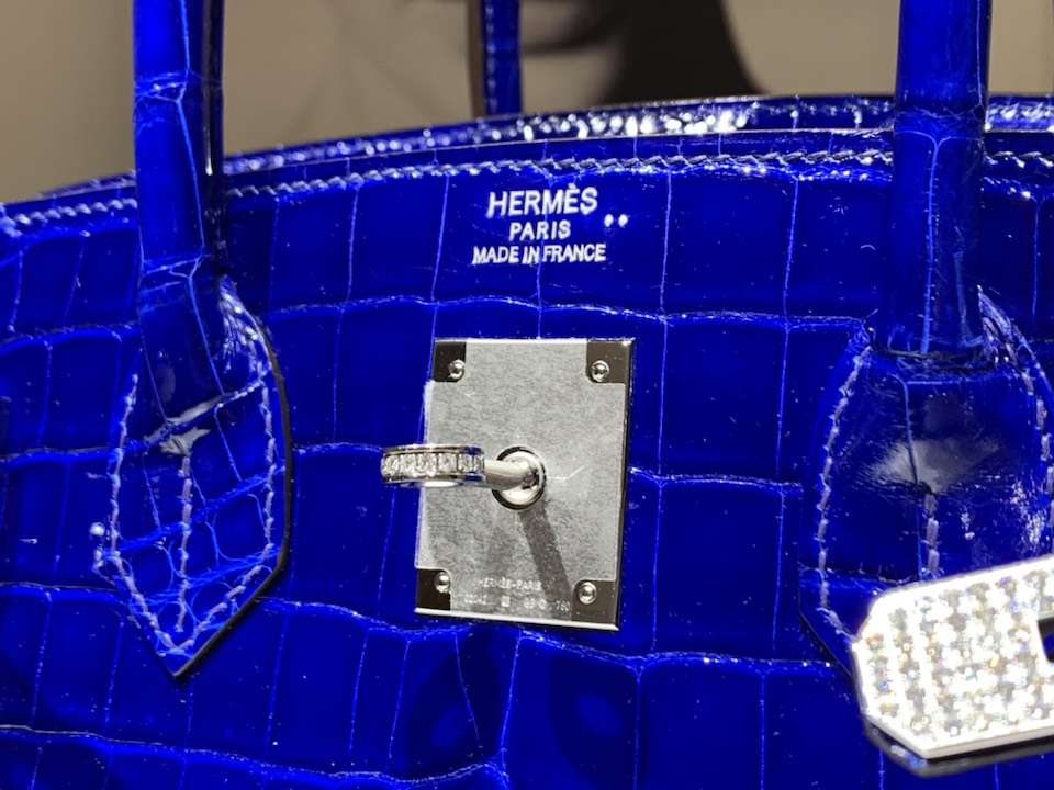 HERMES 爱马仕 Brikin 25cm 鳄鱼皮 电光蓝 现货