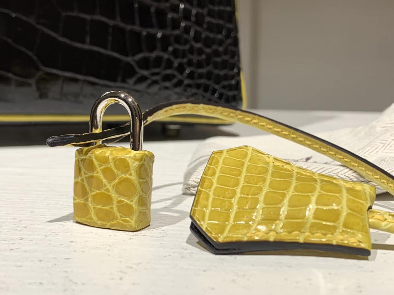 HERMES 爱马仕 Brikin 30cm 鳄鱼皮 柠檬黄配黑色