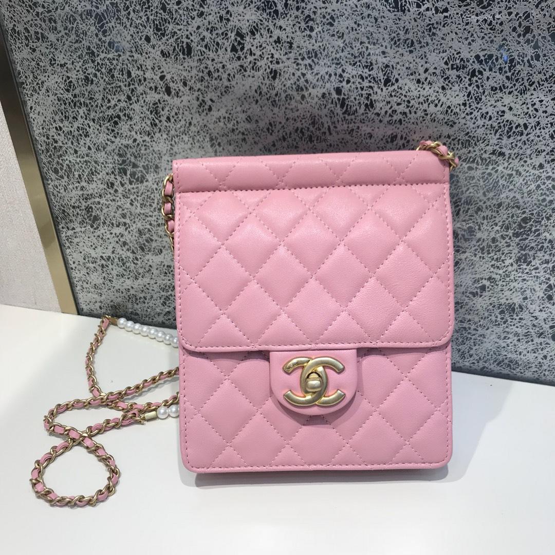 Chanel 香奈儿 新款链条珍珠包小号 进口小羊皮 粉色 沙金