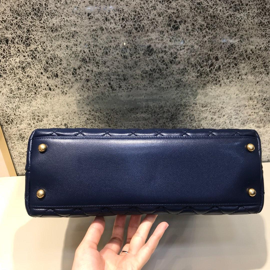 CoCo Handle 顶级代购版 28cm 原厂小牛皮 蜥蜴皮手柄 宝石蓝 沙金